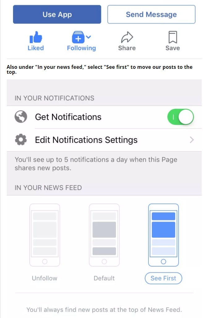 Image result for facebook follow see first